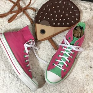 Converse pink and green high tops